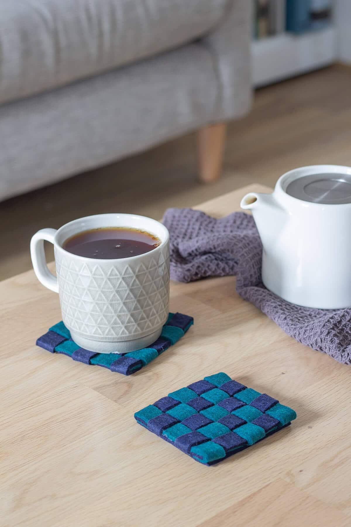 DIY woven felt coasters