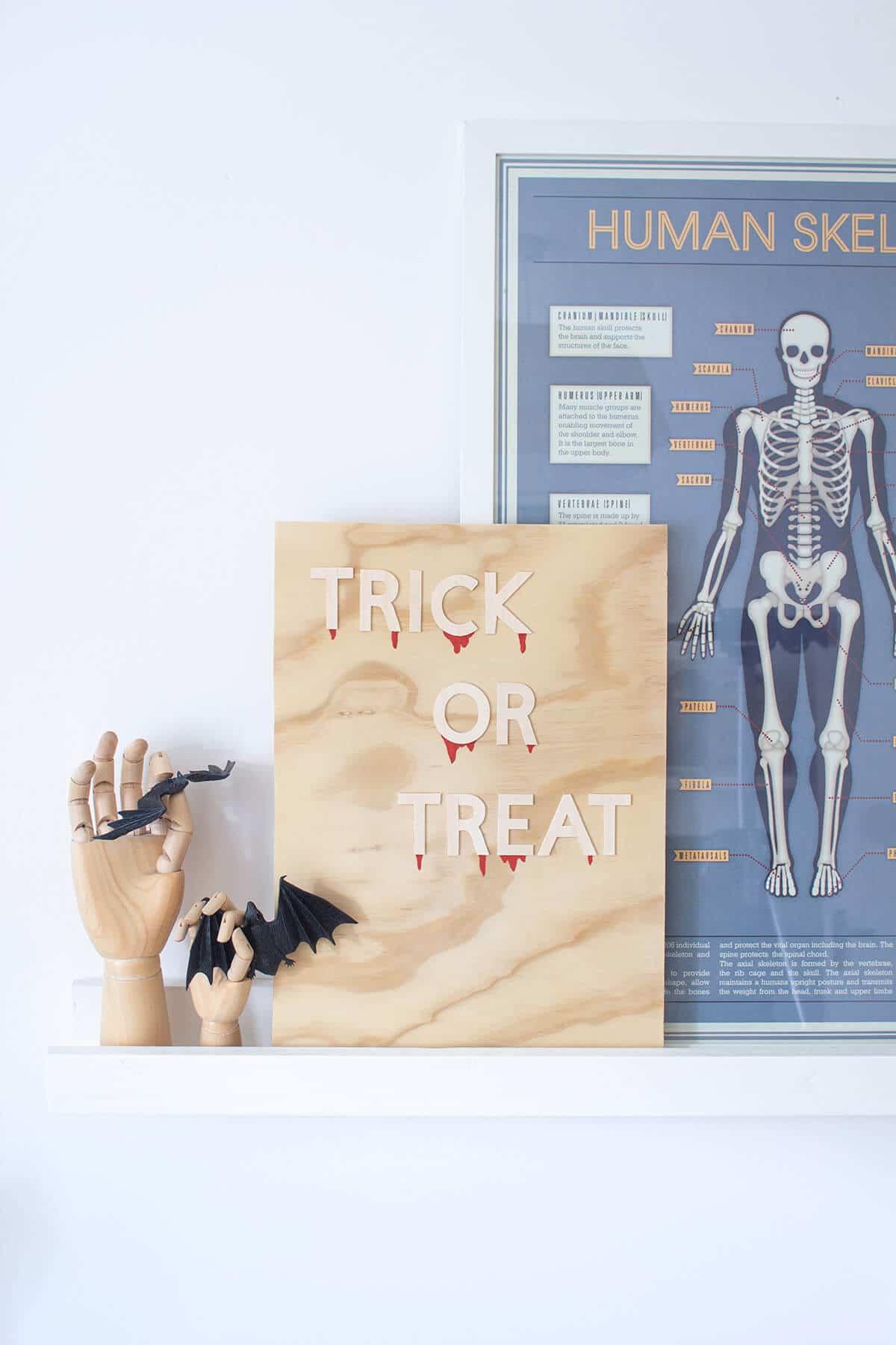 """Trick or Treat"" wooden DIY Halloween decoration"